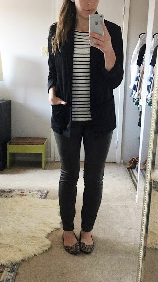 Boyfriend blazer, striped boatneck, Olive pintuck leggings, and leopard flats.