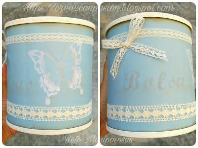 Proceso de reciclaje de un bote de leche en polvo con pintura chalky y plantillas de stencil y cintas de pasamanería