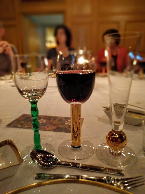 Glass of red wine at the Nobel Prize dinner at Stadshuskällaren Restaurang at the Stockholm City Hall