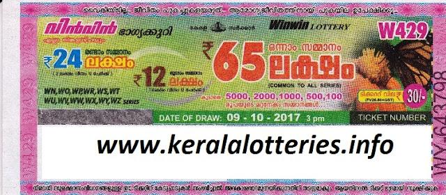 KERALA LOTTERY RESULT WIN WIN (W-429)