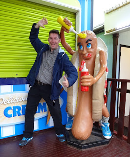 One of the many Hot Dog Mascots we've spotted on our travels