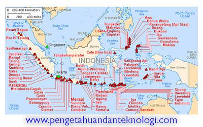 Peta Persebaran Gunung Api di Kepulauan Indonesia