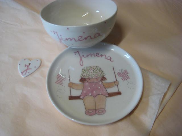 vajillas infantiles personalizadas artesanales pintadas a mano