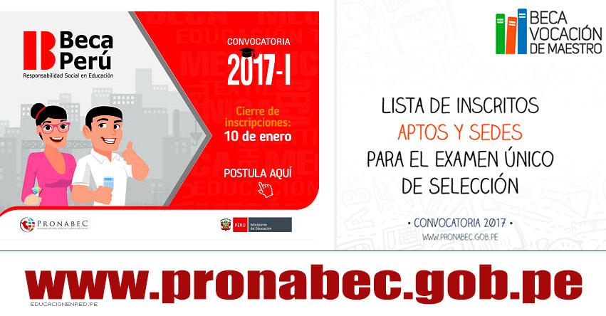 BECA VOCACIÓN DE MAESTRO: Lista de Inscritos Aptos y Sedes para el Examen Único de Selección (14 y 15 Enero) PRONABEC - www.pronabec.gob.pe