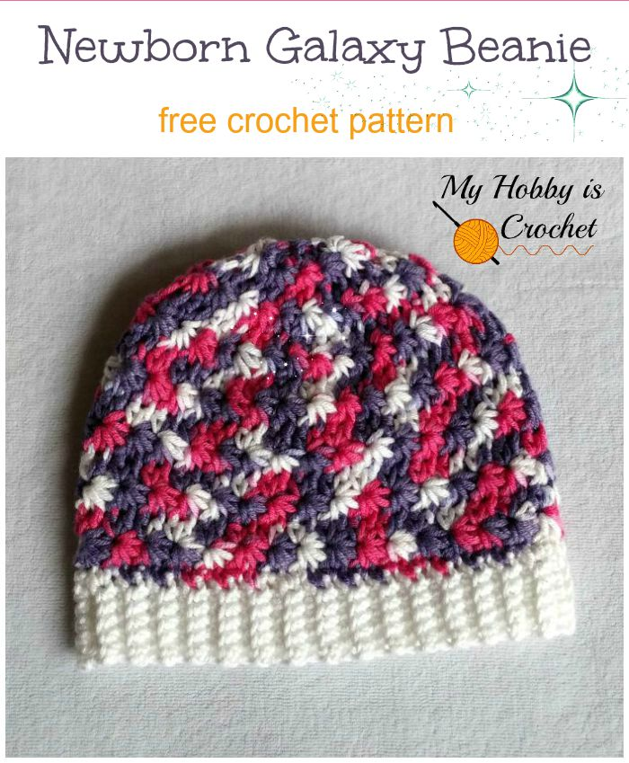 Free Crochet Pattern: Newborn Galaxy Beanie on myhobbyiscrochet.com