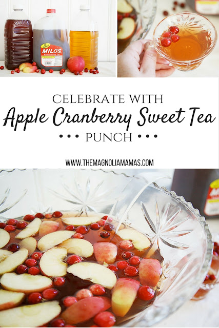 Celebrate the holidays with this yummy and easy to make Apple Cranberry Sweet Tea Punch. The perfect holiday drink made with the south's favorite Milo's Tea. #PassTheMilos #pmedia #ad