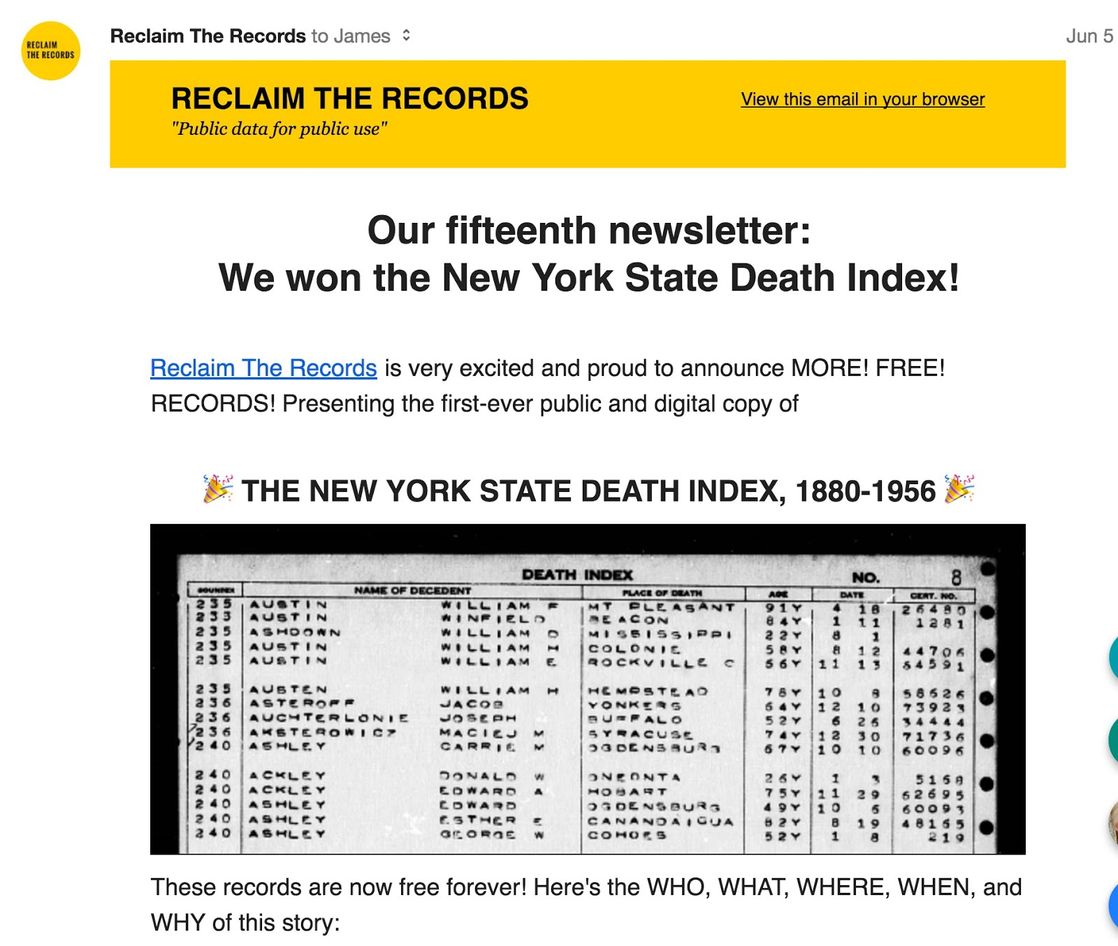 Genealogys Star Reclaim The Records Frees The New York State Death