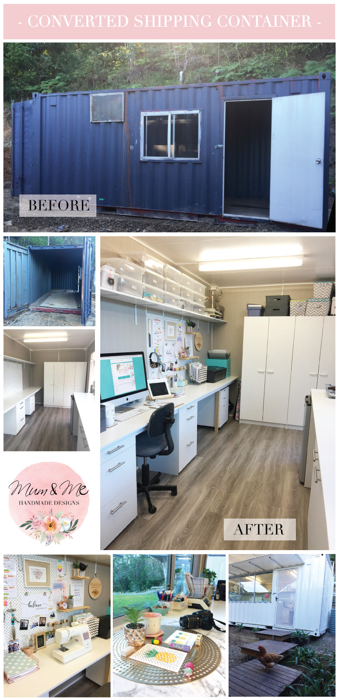 Mum and Me Handmade Designs New Home Studio created from an Old Shipping Container
