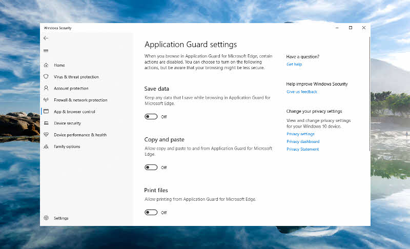 Securing web browsing in Windows 10 with Windows Defender Application Guard