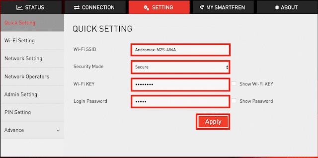 cara ganti password wifi andromax m2s
