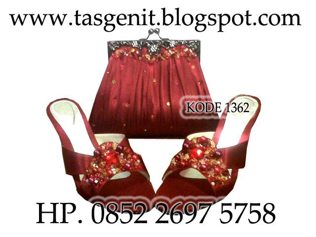 TAS PESTA Behel Merah Marun Sandal Pesta Payet NEW