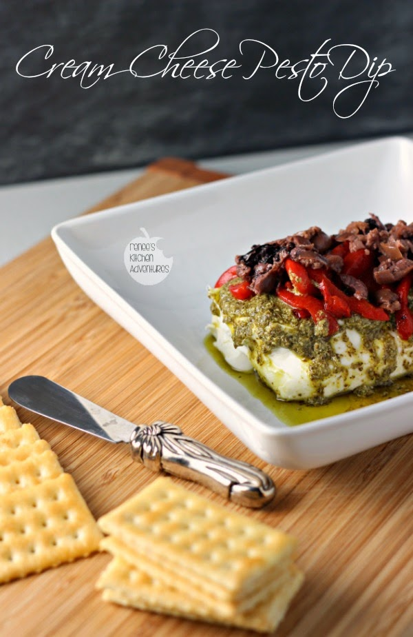 Cream Cheese Pesto Dip | Renee's Kitchen Adventures  Super EASY appetizer perfect for the holidays or anytime!