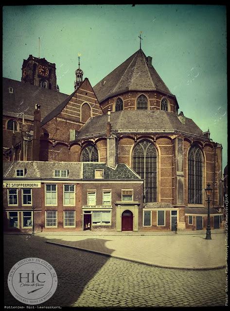 Ingekleurde foto Rotterdam, Laurenskerk