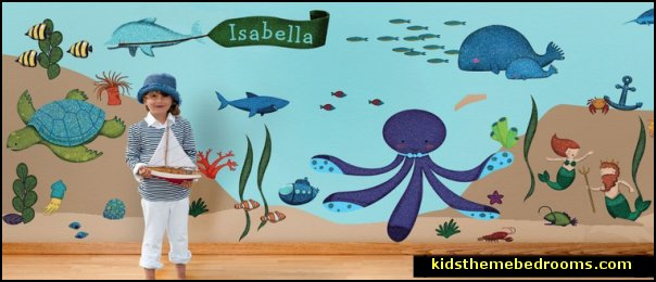 Ocean Wall Stickers for Under the Sea Theme Wall Mural  underwater bedroom ideas - under the sea theme bedrooms - mermaid theme bedrooms - sea life bedrooms - Little mermaid princess Ariel - Sponge Bob theme bedrooms - mermaid bedding - Disney's little mermaid - clamshell bed - mermaid murals - mermaid wall decal stickers