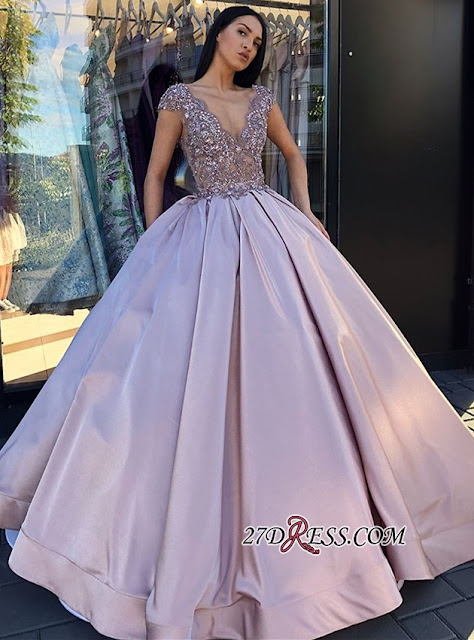 Glamorous Cap Sleeve Long Evening Dress | 2019 V-Neck Prom Gown With Appliques