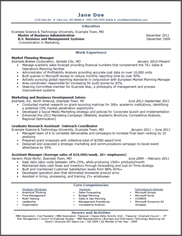Resume Grad School In Progress