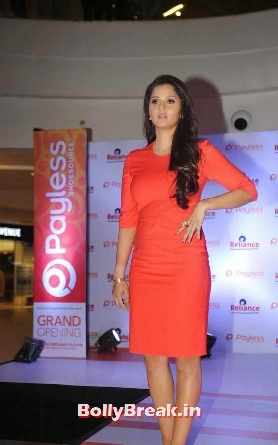 Sania Mirza Photo Gallery with no Watermarks, Sania Mirza Hot Pics in Red Midi Dress