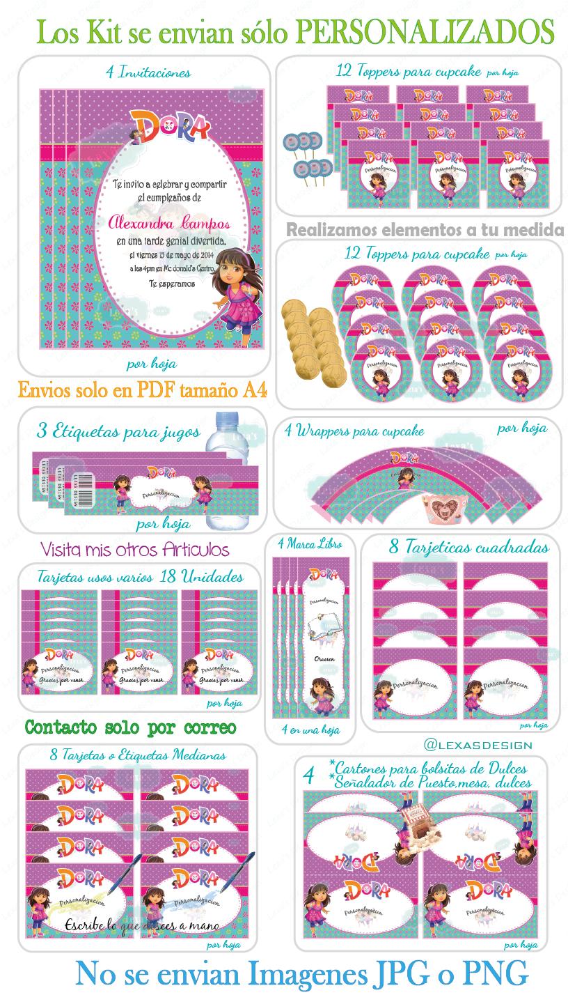 descarga Kit Fiesta Dora la Exploradora Dora y sus Amigos gratis, etiquetas bebidas, toppers, wrappers, Candy Bar,
