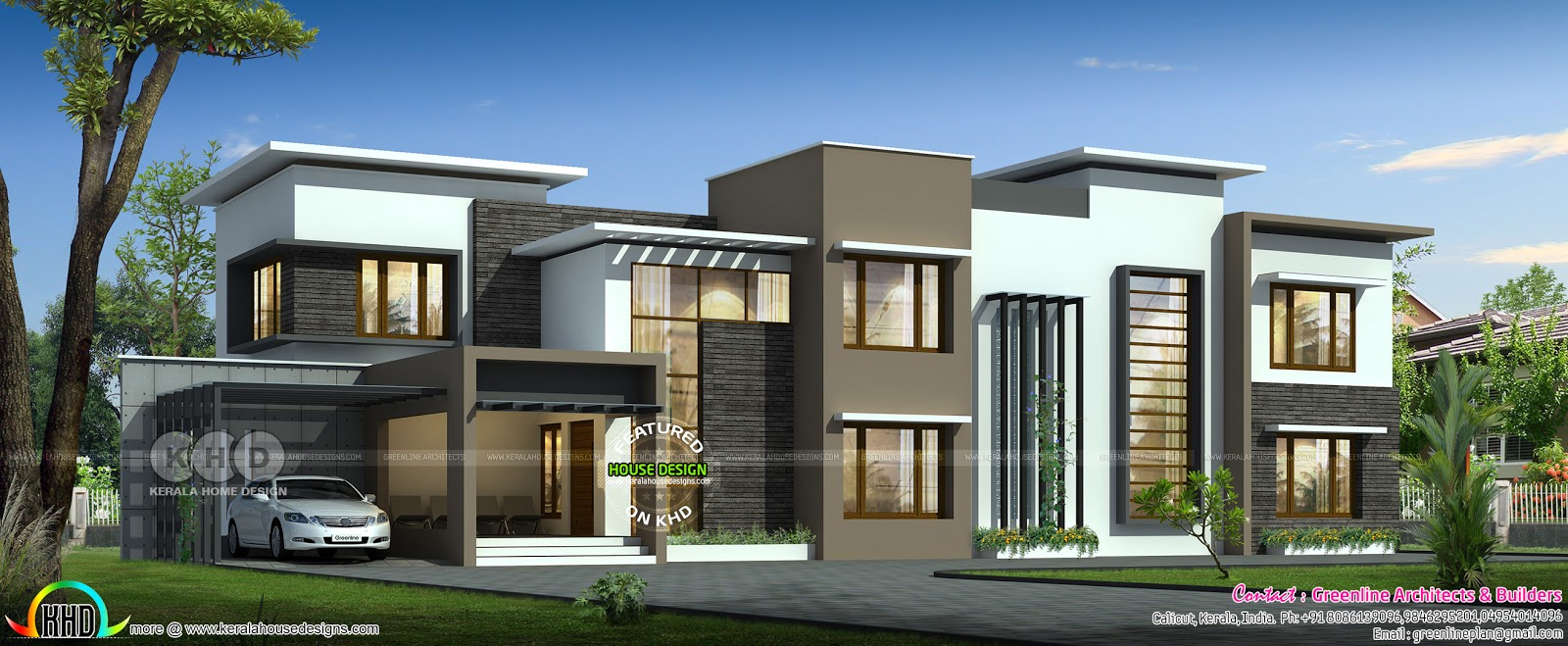 3950 square feet 5 bedroom wide flat roof house