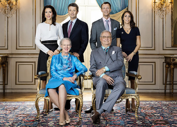 Queen Margrethe II and Prince Henrik, Crown Prince Frederik and Crown Princess Mary, Prince Joachim and Princess Marie of Denmark