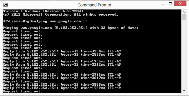 cmd windows showing on-going ping test