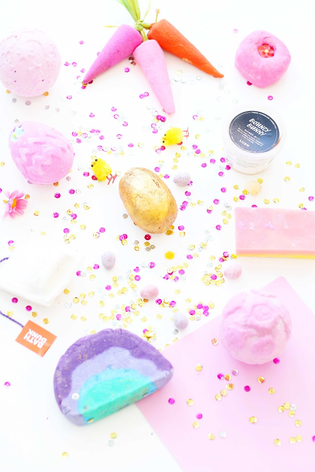 Beauty, Lush Haul, Lush Easter Haul, Lush Easter 2016 collection, Lush Bath, Easter, bunch of carrots, twilight bath bomb, somewhere over the rainbow, fluffy egg, golden egg,