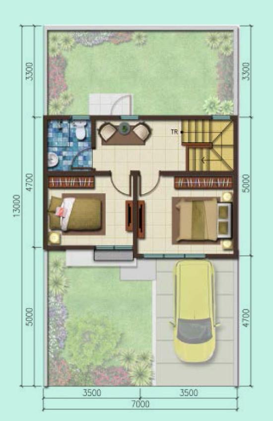 Denah rumah minimalis ukuran 7x13 meter 3 kamar tidur 2 lantai