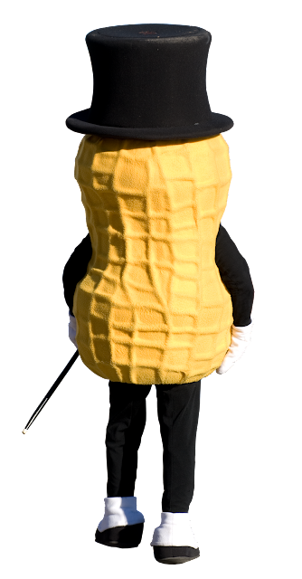 A back facing view of the Mr. Peanut man, with a large peanut-in-the-shell body, a black top hat and cane, black legs and shoe spats.