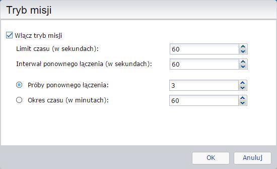 Tryb misji podczas konfigurowania backupu do serwera FTP