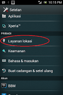 Pengaturan Layanan Lokasi Android