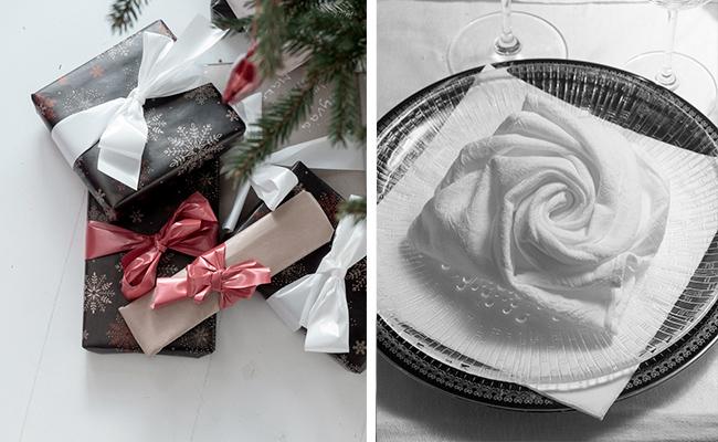 joulu, joululhajat, paketointi, kattaus, ruususervetti,