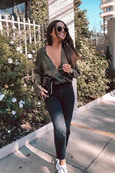 30 Trendy Fall Clothing Ideas for Every Day of Month | Wrap Satin Khaki Top + Washed Black Jeans + Canvas Sneakers