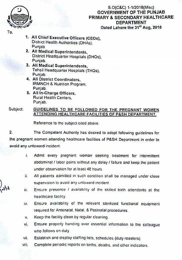 NOTIFICATION REGARDING GUIDELINES FOR THE PREGNANT WOMEN ATTENDING HEALTHCARE FACILITIES OF P&SH DEPARTMENT