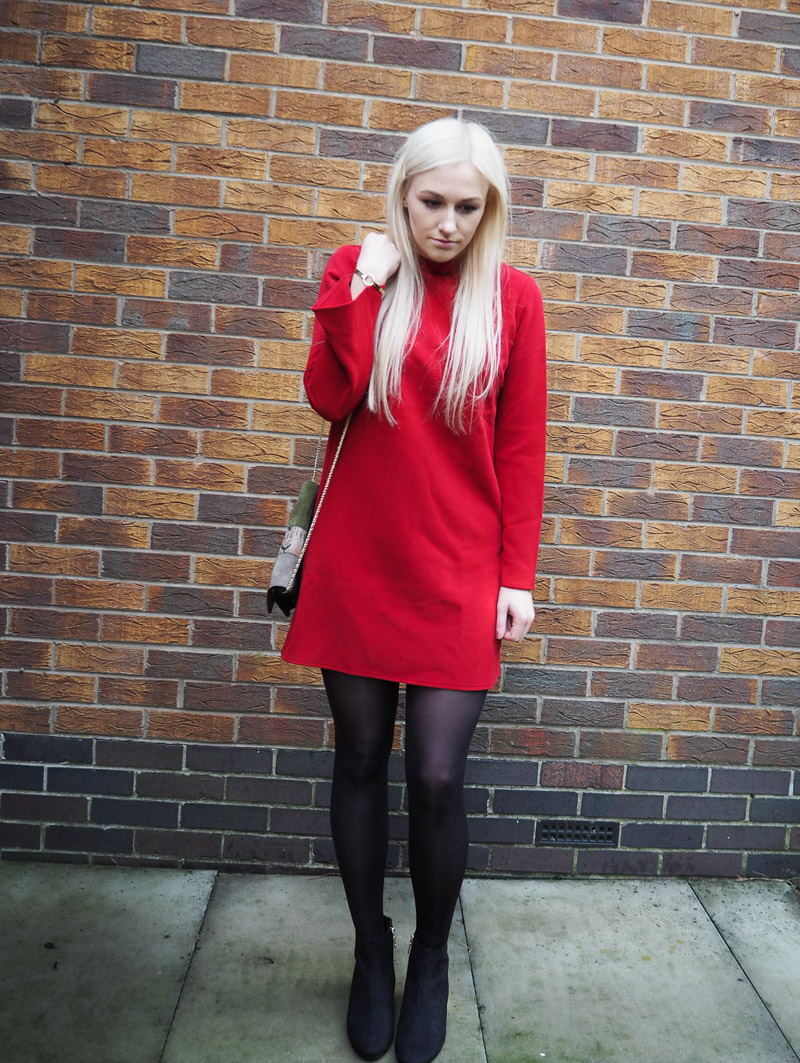16d6798174c LITTLE RED DRESS AND GOLD HEELED BOOTS