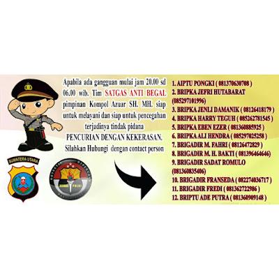 Catat Nomor ini Team Anti Begal di Kota Medan