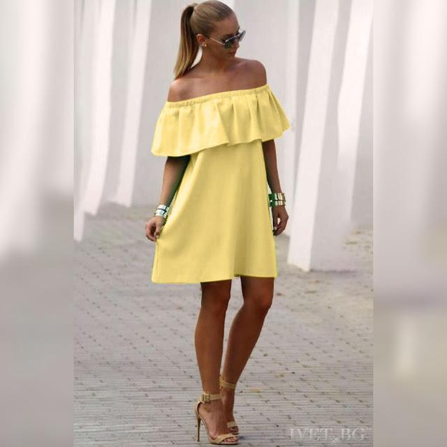 Μοντέρνο κοντό κίτρινο φόρεμα KARISA YELLOW