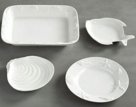 White Coastal Dinnerware Set