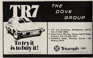 Dove Group advert in What Car magazine July 1977 for the TR7