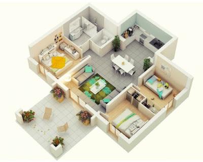 Denah Rumah Minimalis type 45 3 Kamar