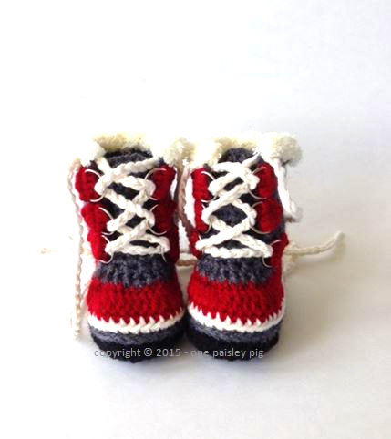 crochet pattern baby booties mountain boots