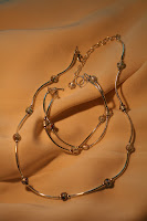 Curves: necklace & bracelet set - sterling silver, foilde glass beads :: All the Pretty Things
