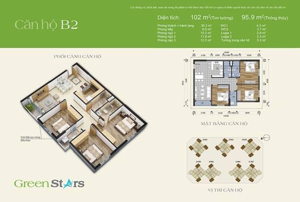 Thiết kế căn hộ 3 phòng ngủ 102m2 –  B2