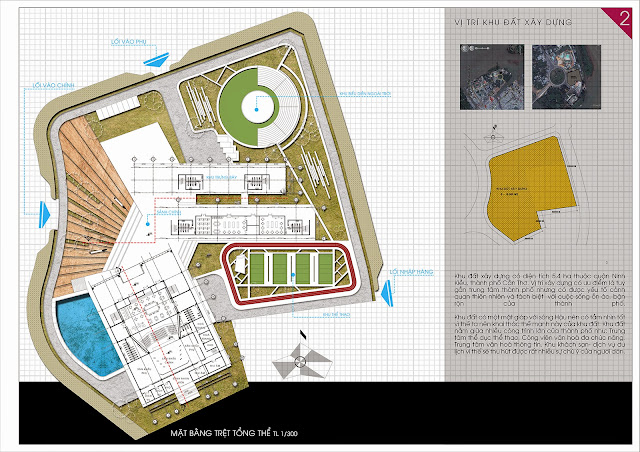 trung tâm sinh hoạt văn hóa nghệ thuật đồ án kiến trúc, mặt bằng