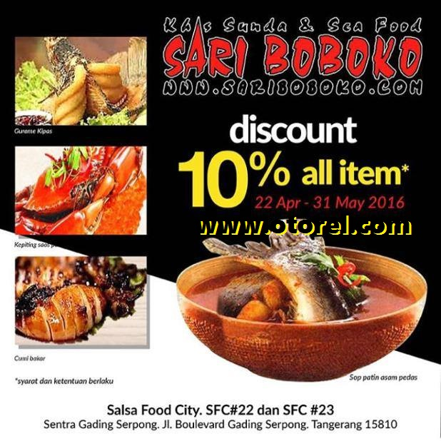 SARI BOBOKO Discount 10% All Item
