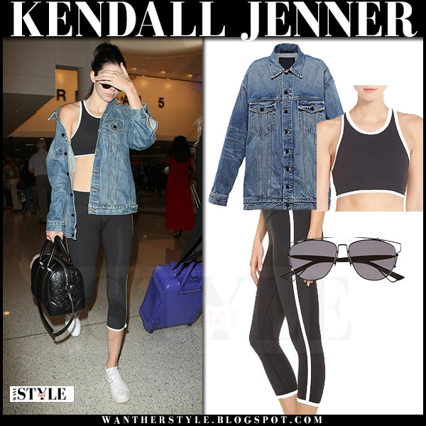 Kendall Jenner in denim jacket and black leggings beyond yoga kate spade what she wore