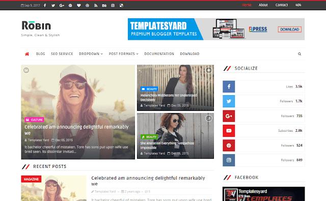 Download Free Premium Robin Blog Blogger Template