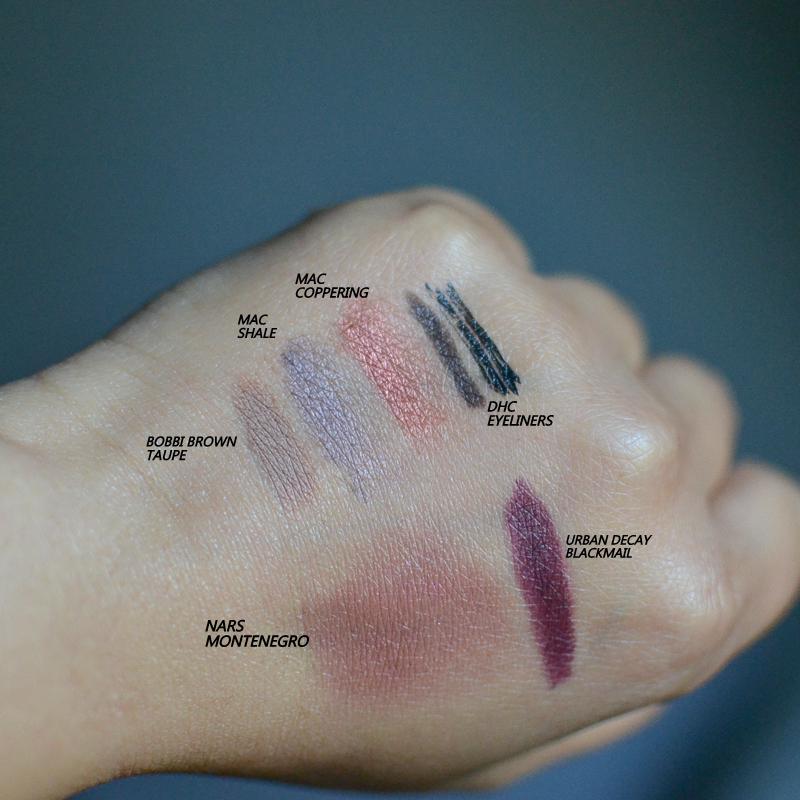 Makeup Swatches - Bobbi Brown Taupe - MAC Coppering Shale Eyeshadows - DHC Eyeliner - NARS Montenegro Cream Blush - Urban Decay Vice Lipstick Blackmail