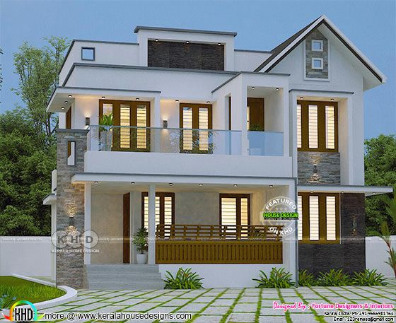Trendy Kerala home design 2000 sq-ft