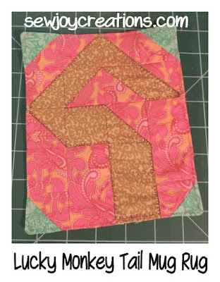 lucky monkey tail mug rug tutorial at quiltsocial.com
