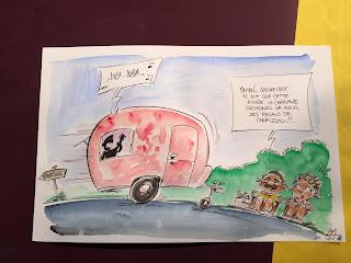 Récolte du concours lors du festival Dessinator . 4 dessins, en 20 minutes chacun, sur 4 thèmes qu'on apprend au coup par coup. 1er thème : la petite reine... (Raison d'un vengeance éhonté du Sieur Moloch😁) ©Guillaume Néel